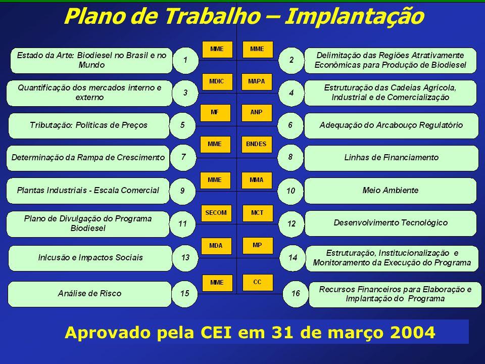 Plano de Trabalho – Implantação Aprovado pela CEI em 31 de março 2004
