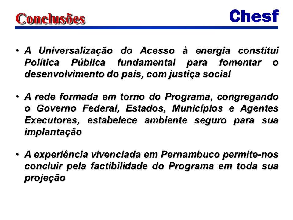 Conclusões A Universalização do Acesso à energia constitui Política Pública fundamental para fomentar o desenvolvimento do país, com justiça social.