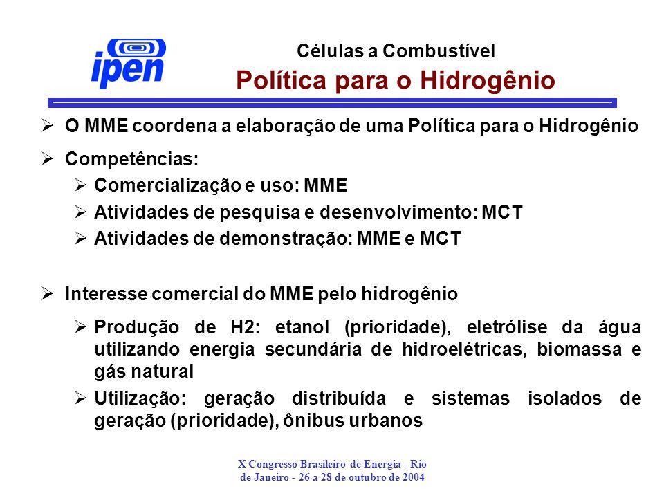 Células a Combustível Política para o Hidrogênio