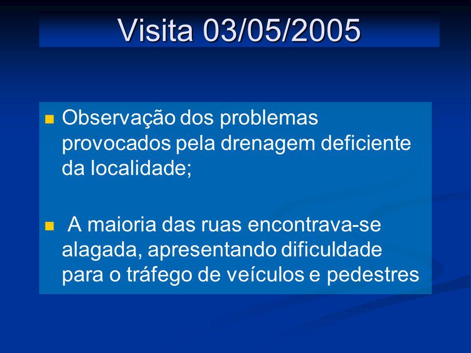 Visita 03/05/2005 Observação dos problemas provocados pela drenagem deficiente da localidade;
