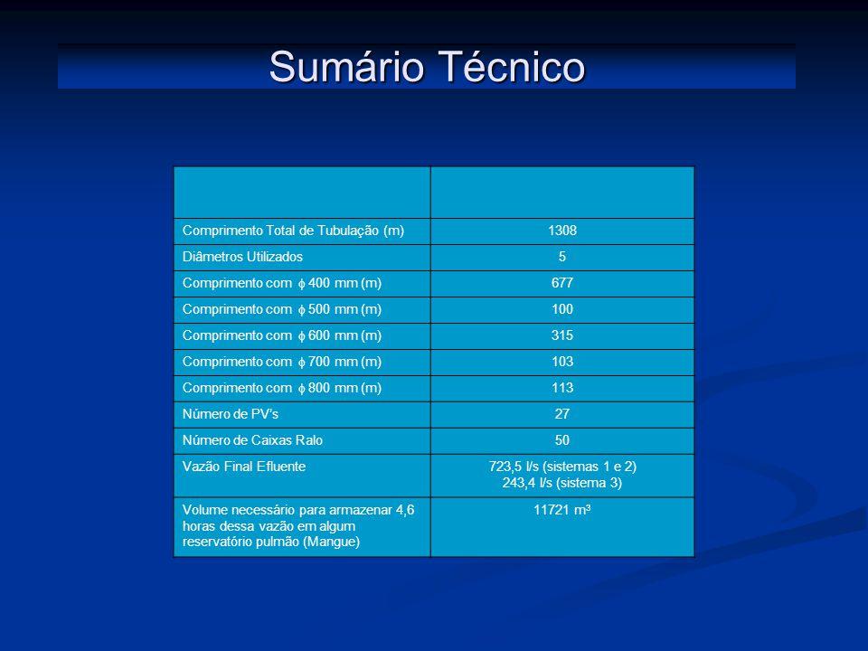 Sumário Técnico Comprimento Total de Tubulação (m) 1308