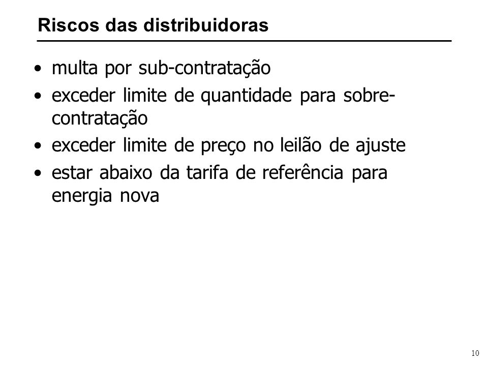 Riscos das distribuidoras