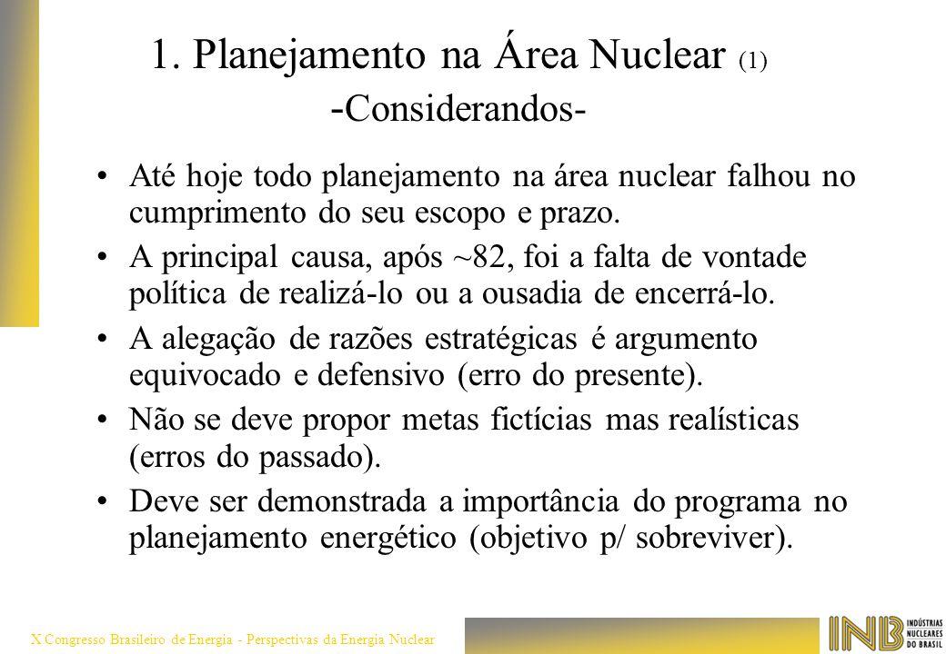 1. Planejamento na Área Nuclear (1) -Considerandos-