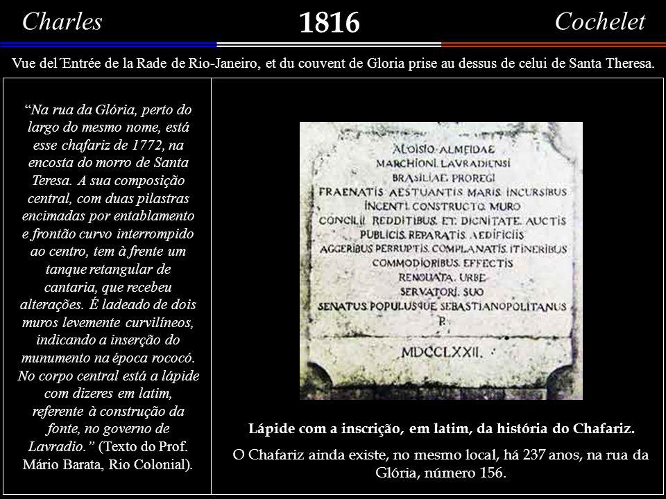 Lápide com a inscrição, em latim, da história do Chafariz.