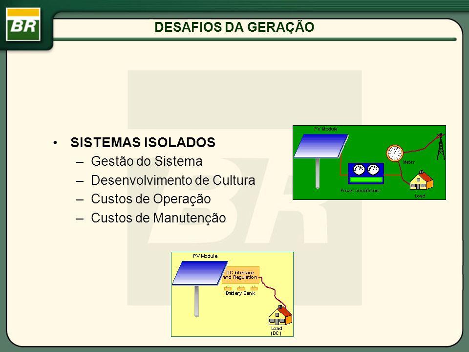 SISTEMAS ISOLADOS DESAFIOS DA GERAÇÃO Gestão do Sistema