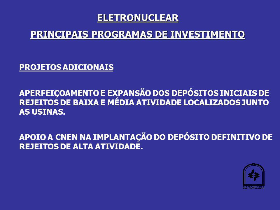 PRINCIPAIS PROGRAMAS DE INVESTIMENTO