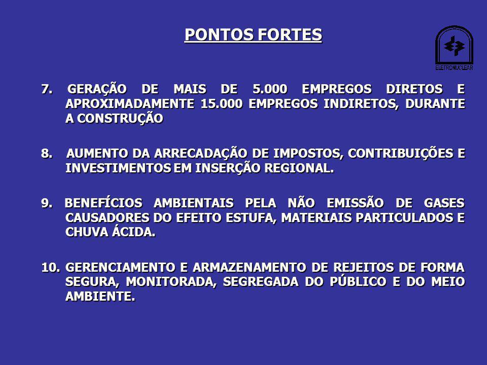 PONTOS FORTES 7. GERAÇÃO DE MAIS DE 5.000 EMPREGOS DIRETOS E APROXIMADAMENTE 15.000 EMPREGOS INDIRETOS, DURANTE A CONSTRUÇÃO.