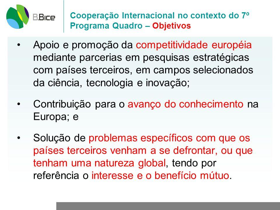 Cooperação Internacional no contexto do 7º Programa Quadro – Objetivos