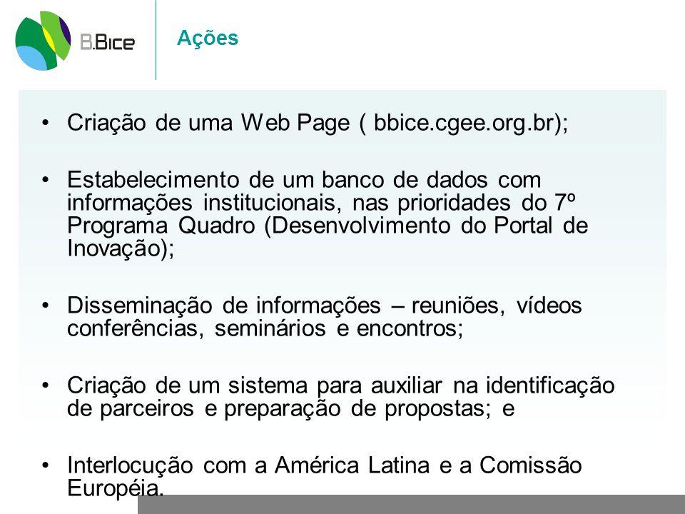 Criação de uma Web Page ( bbice.cgee.org.br);