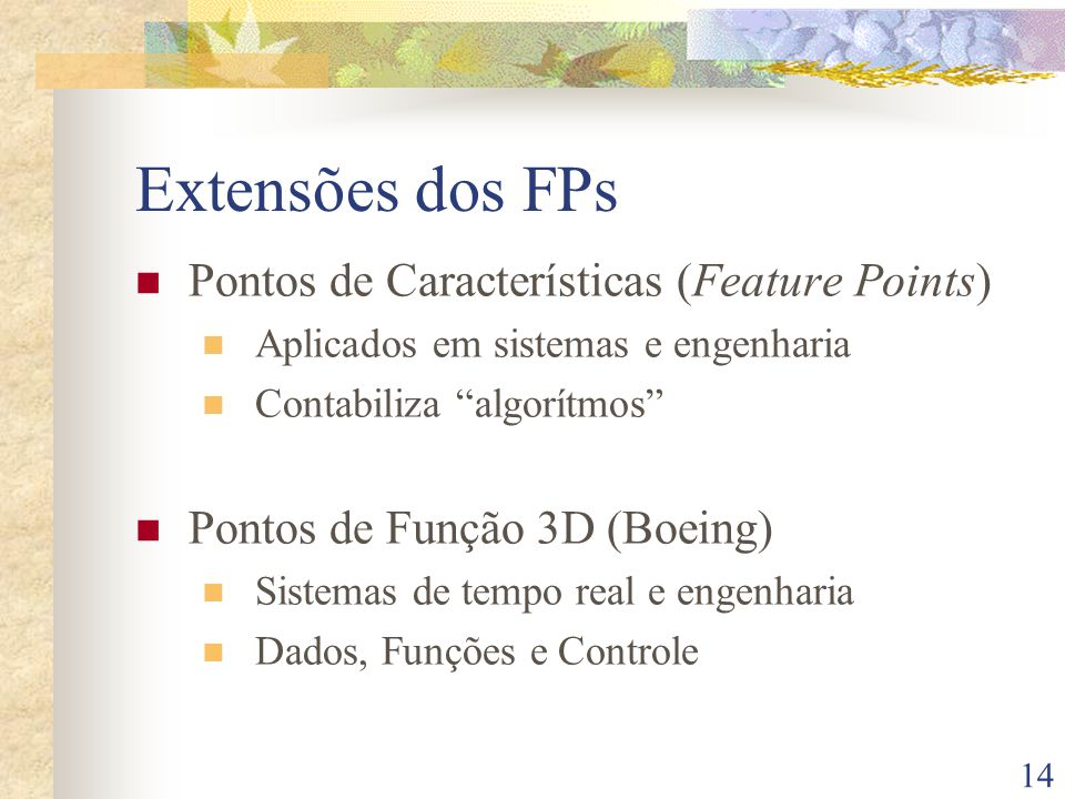 Extensões dos FPs Pontos de Características (Feature Points)