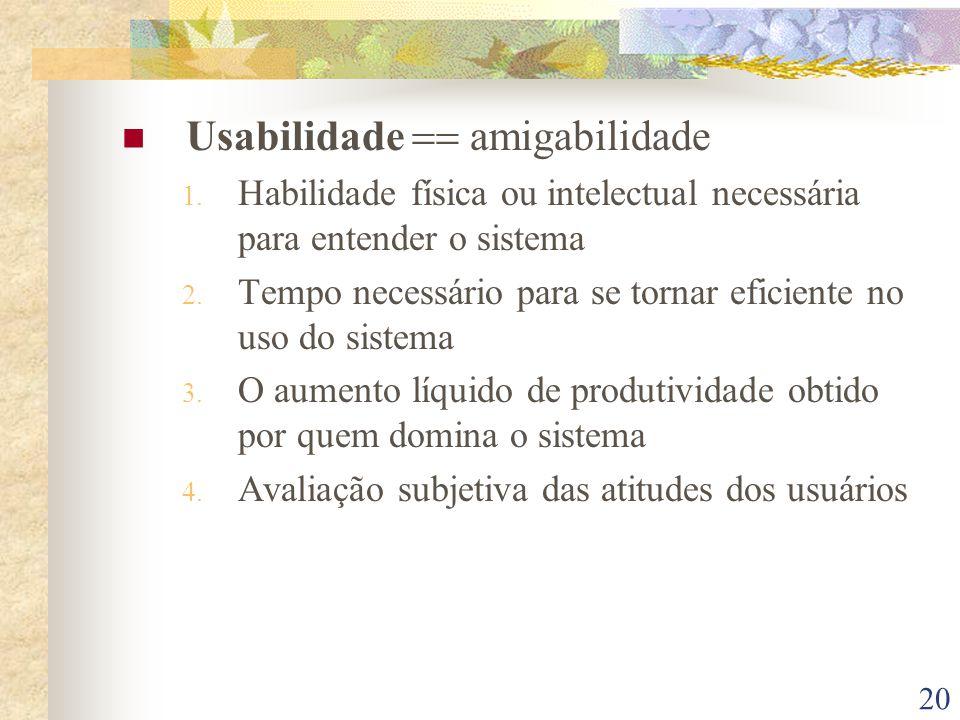 Usabilidade == amigabilidade