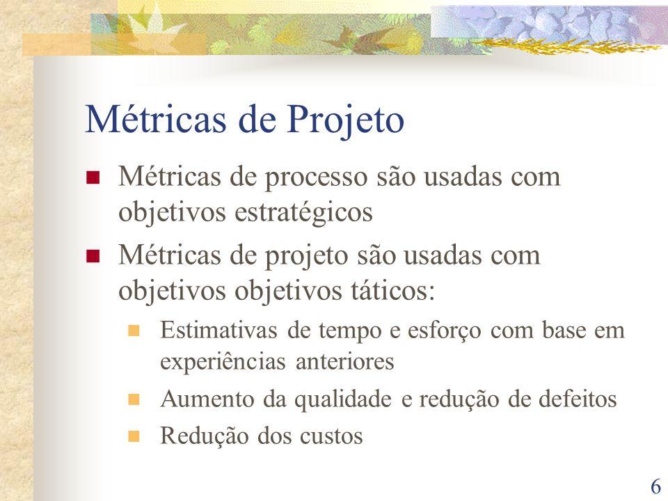 Métricas de Projeto Métricas de processo são usadas com objetivos estratégicos. Métricas de projeto são usadas com objetivos objetivos táticos: