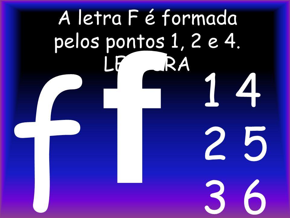 A letra F é formada pelos pontos 1, 2 e 4. LEITURA