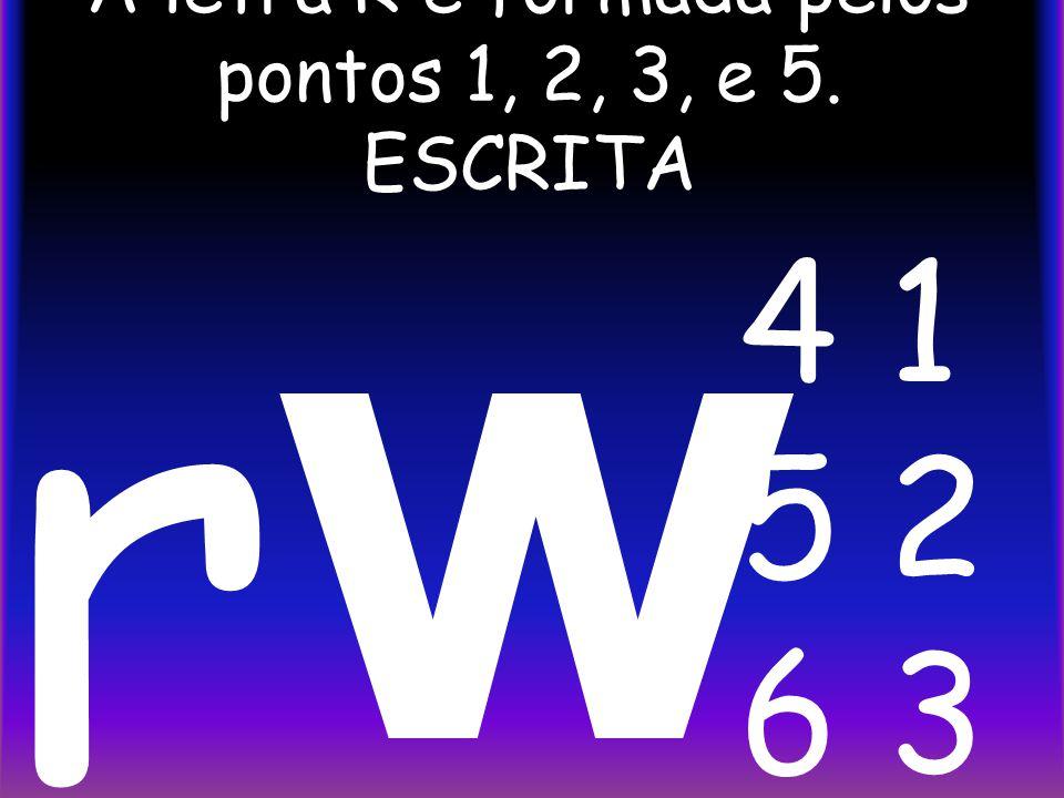 A letra R é formada pelos pontos 1, 2, 3, e 5. ESCRITA