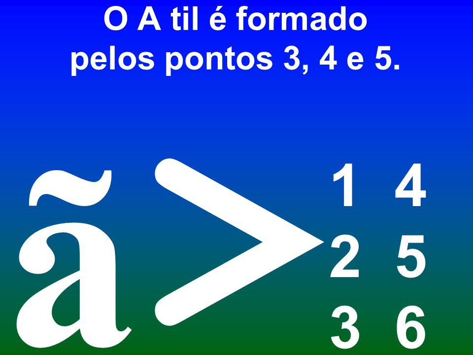 O A til é formado pelos pontos 3, 4 e 5.