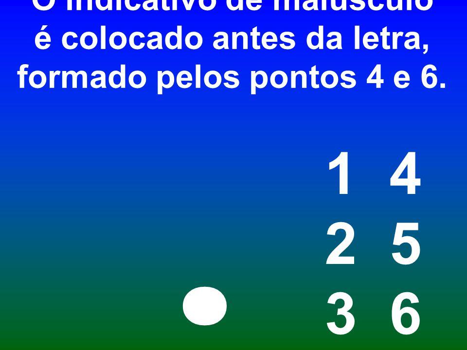 O indicativo de maiúsculo é colocado antes da letra, formado pelos pontos 4 e 6.