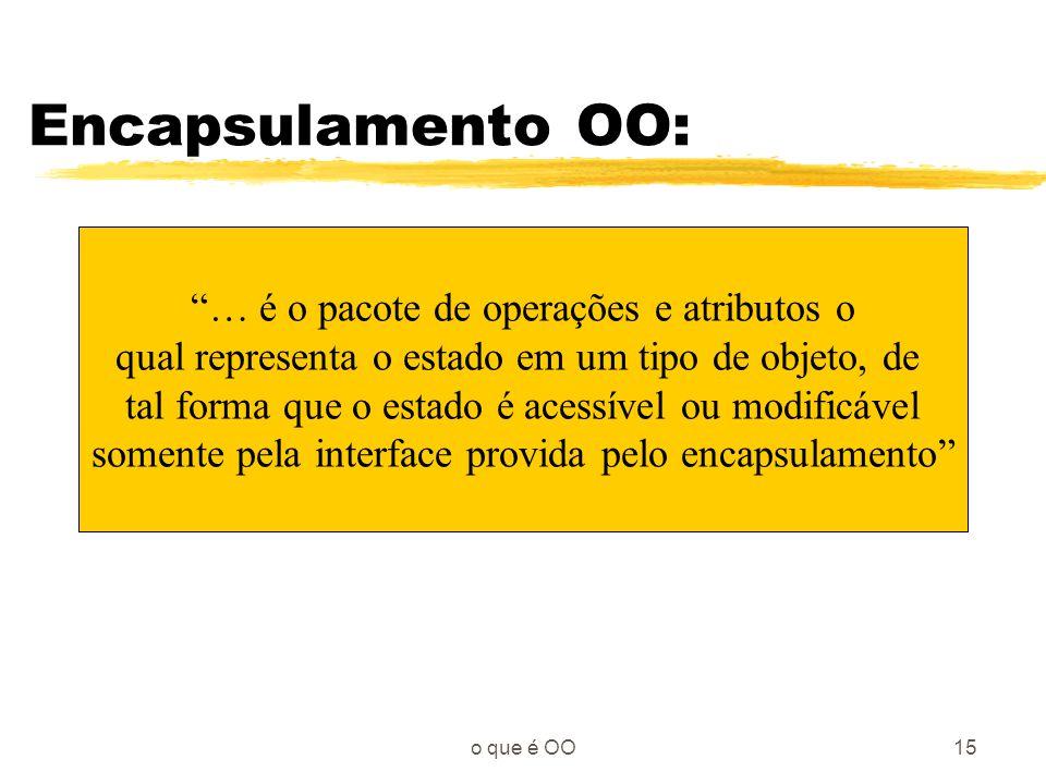 Encapsulamento OO: … é o pacote de operações e atributos o