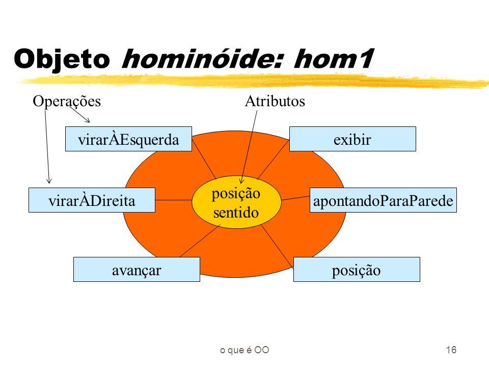 Objeto hominóide: hom1 Operações Atributos virarÀEsquerda exibir