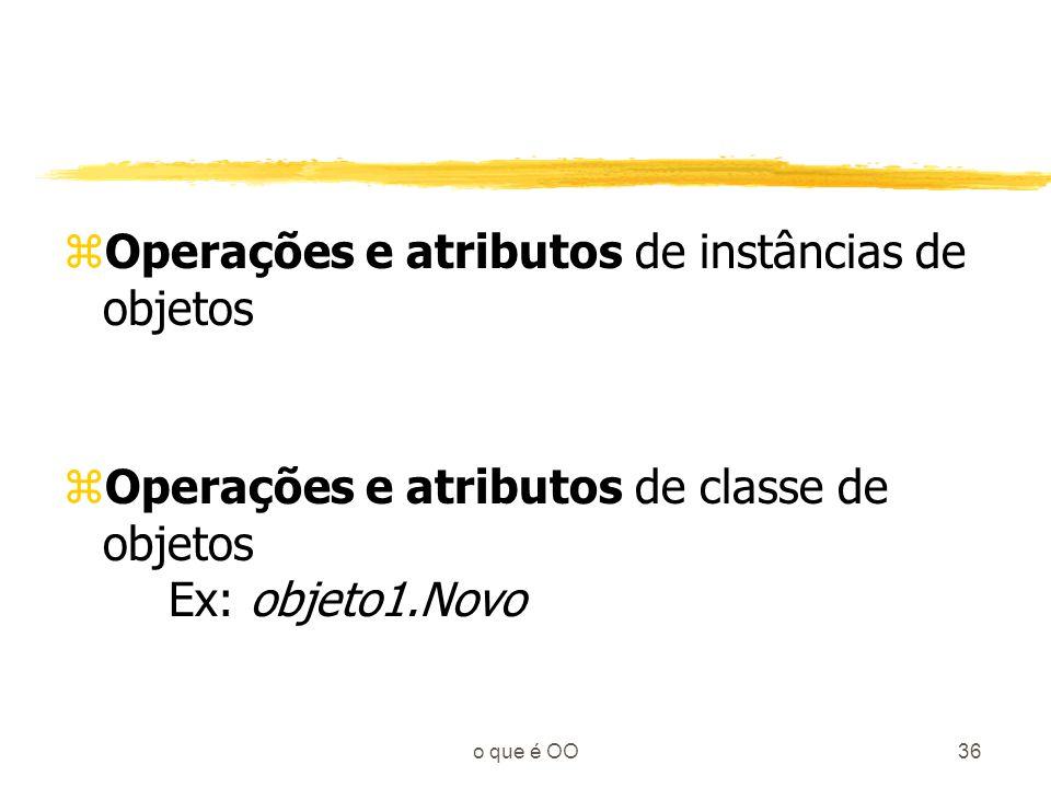 Operações e atributos de instâncias de objetos