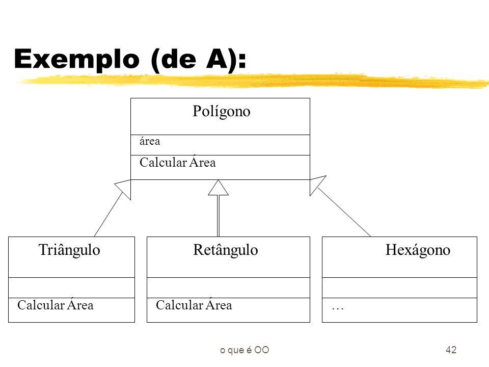 Exemplo (de A): Polígono Triângulo Retângulo Hexágono Calcular Área