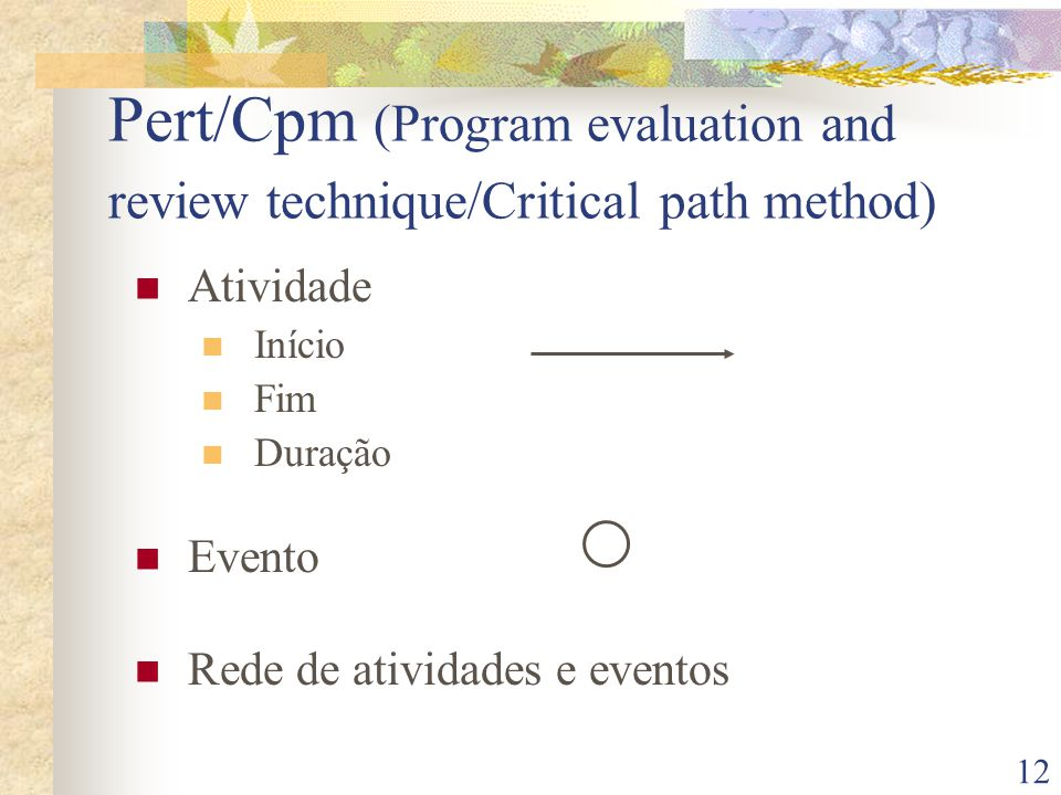 Pert/Cpm (Program evaluation and review technique/Critical path method)
