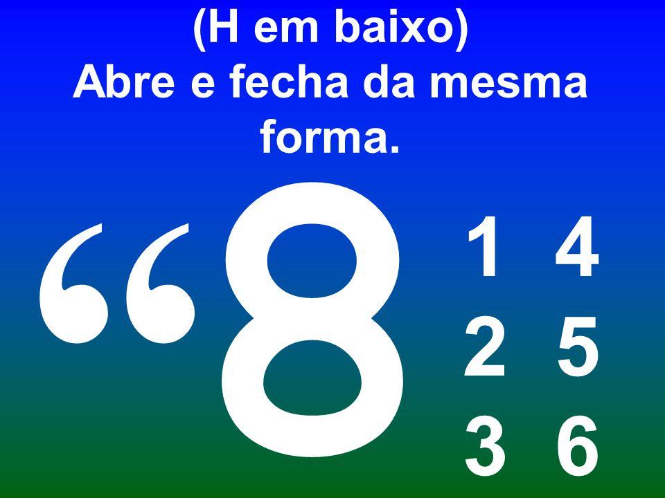 Aspas, pontos 2, 3 e 6. (H em baixo) Abre e fecha da mesma forma.