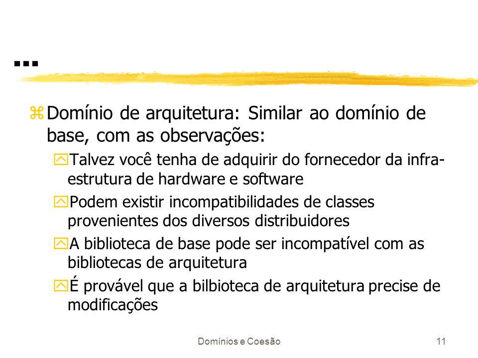 ... Domínio de arquitetura: Similar ao domínio de base, com as observações: