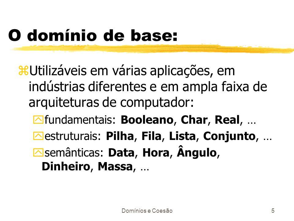 O domínio de base: Utilizáveis em várias aplicações, em indústrias diferentes e em ampla faixa de arquiteturas de computador: