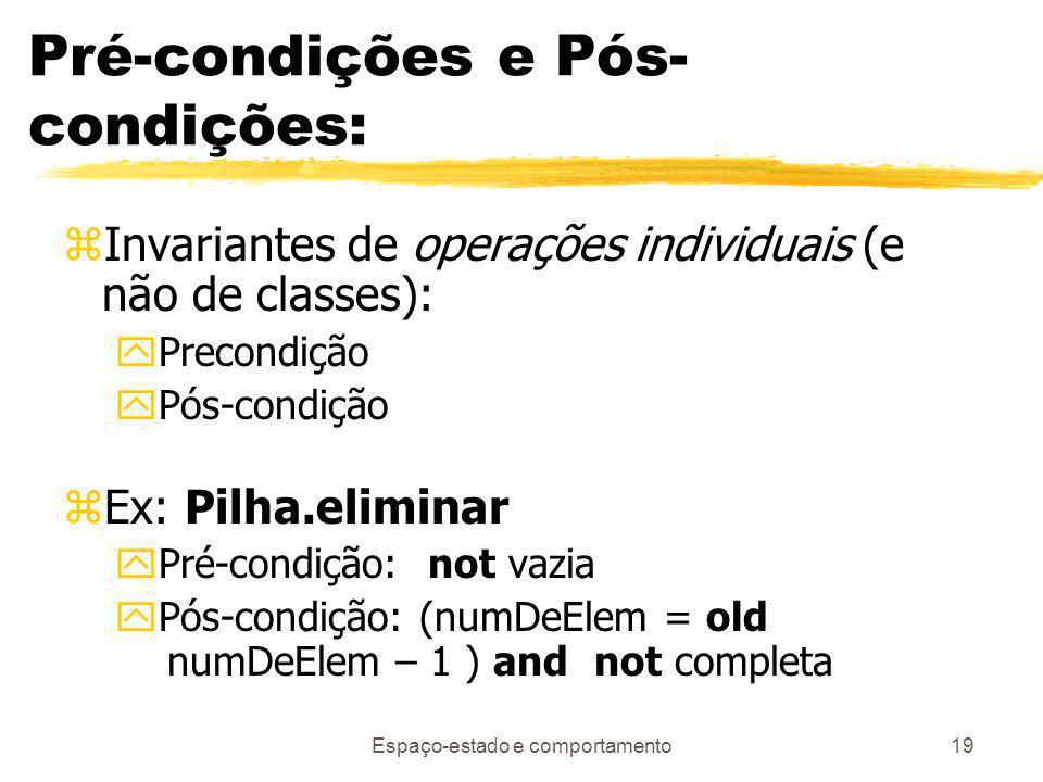 Pré-condições e Pós-condições: