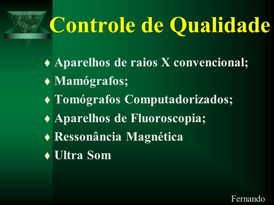 Controle de Qualidade Aparelhos de raios X convencional; Mamógrafos;
