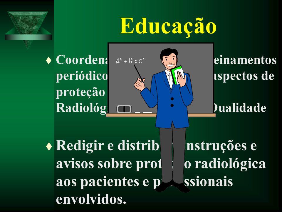Educação Coordenar programas de treinamentos periódicos da equipe sobre aspectos de proteção radiológica, Física Radiológica e Garantia de Qualidade.