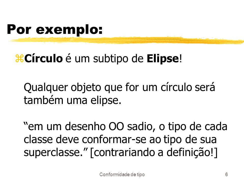Por exemplo: Círculo é um subtipo de Elipse!