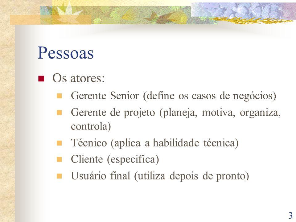 Pessoas Os atores: Gerente Senior (define os casos de negócios)