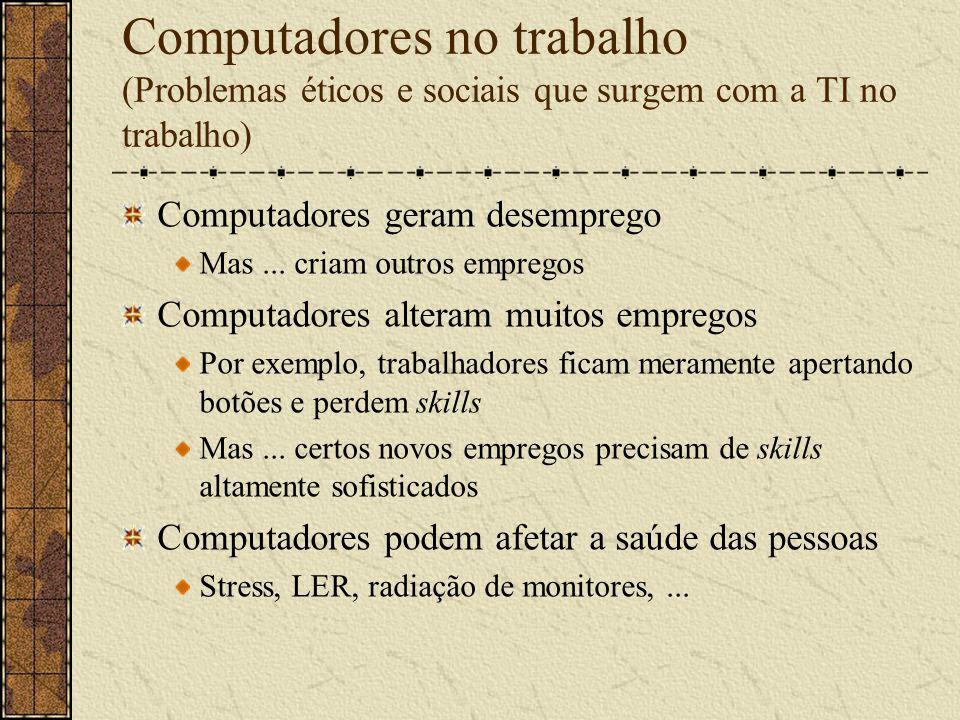 Computadores no trabalho (Problemas éticos e sociais que surgem com a TI no trabalho)