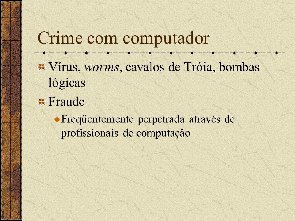 Crime com computador Vírus, worms, cavalos de Tróia, bombas lógicas