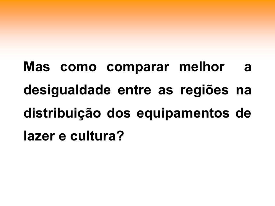 Mas como comparar melhor a desigualdade entre as regiões na distribuição dos equipamentos de lazer e cultura