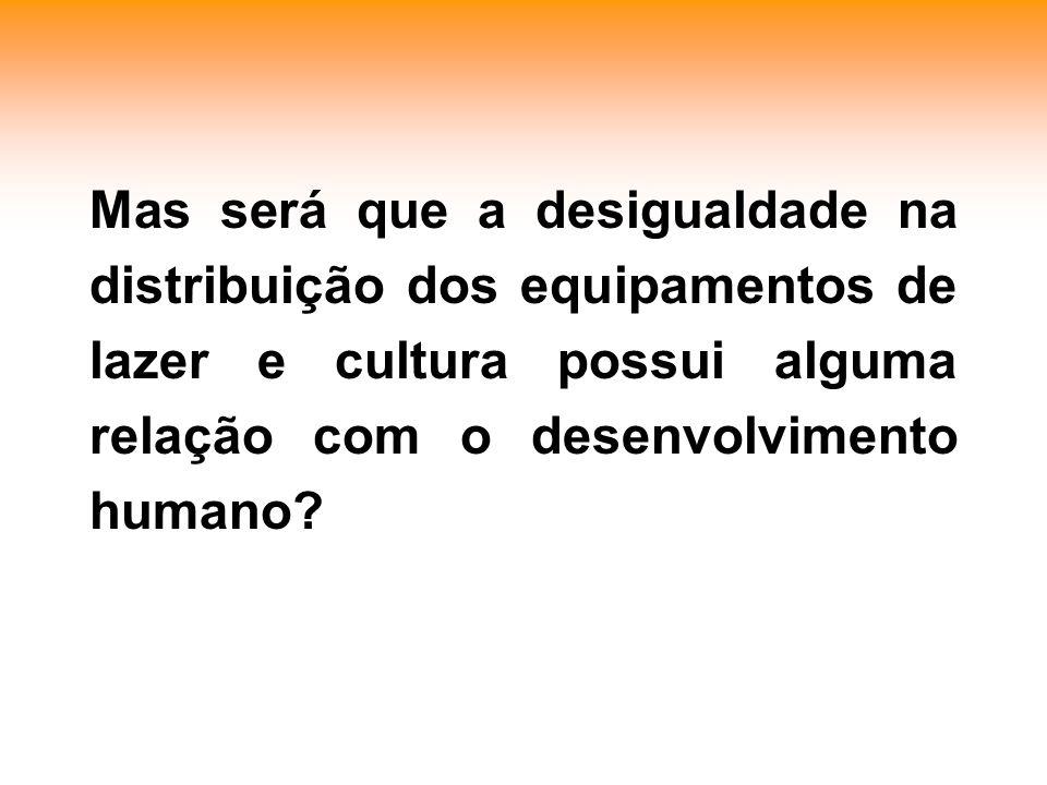 Mas será que a desigualdade na distribuição dos equipamentos de lazer e cultura possui alguma relação com o desenvolvimento humano