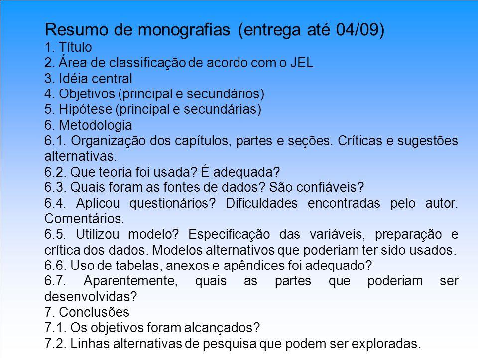 Resumo de monografias (entrega até 04/09)