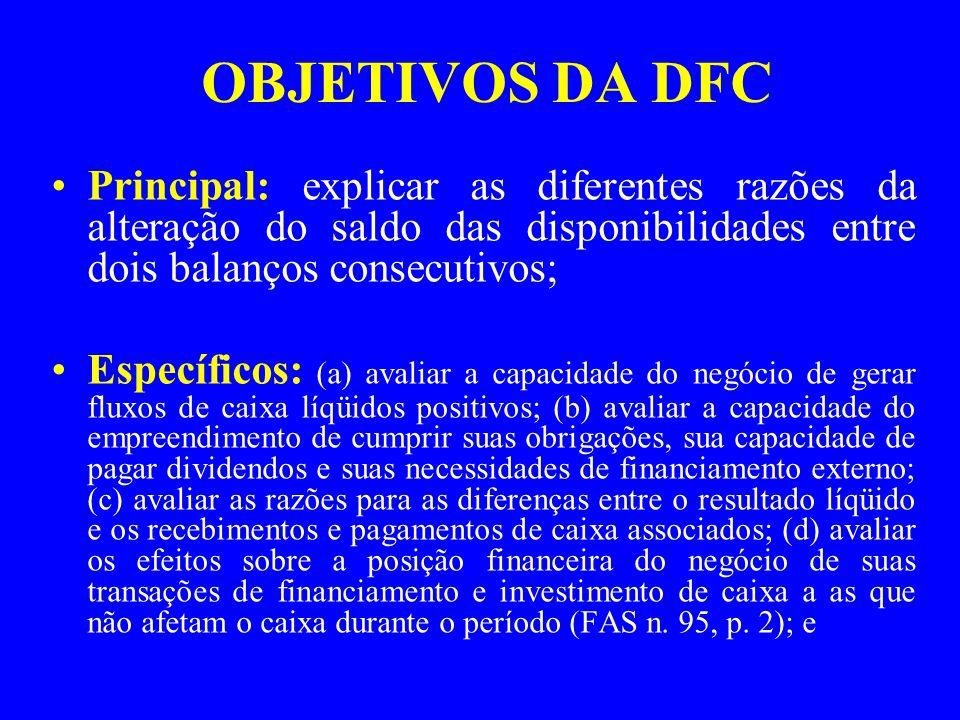 OBJETIVOS DA DFC Principal: explicar as diferentes razões da alteração do saldo das disponibilidades entre dois balanços consecutivos;