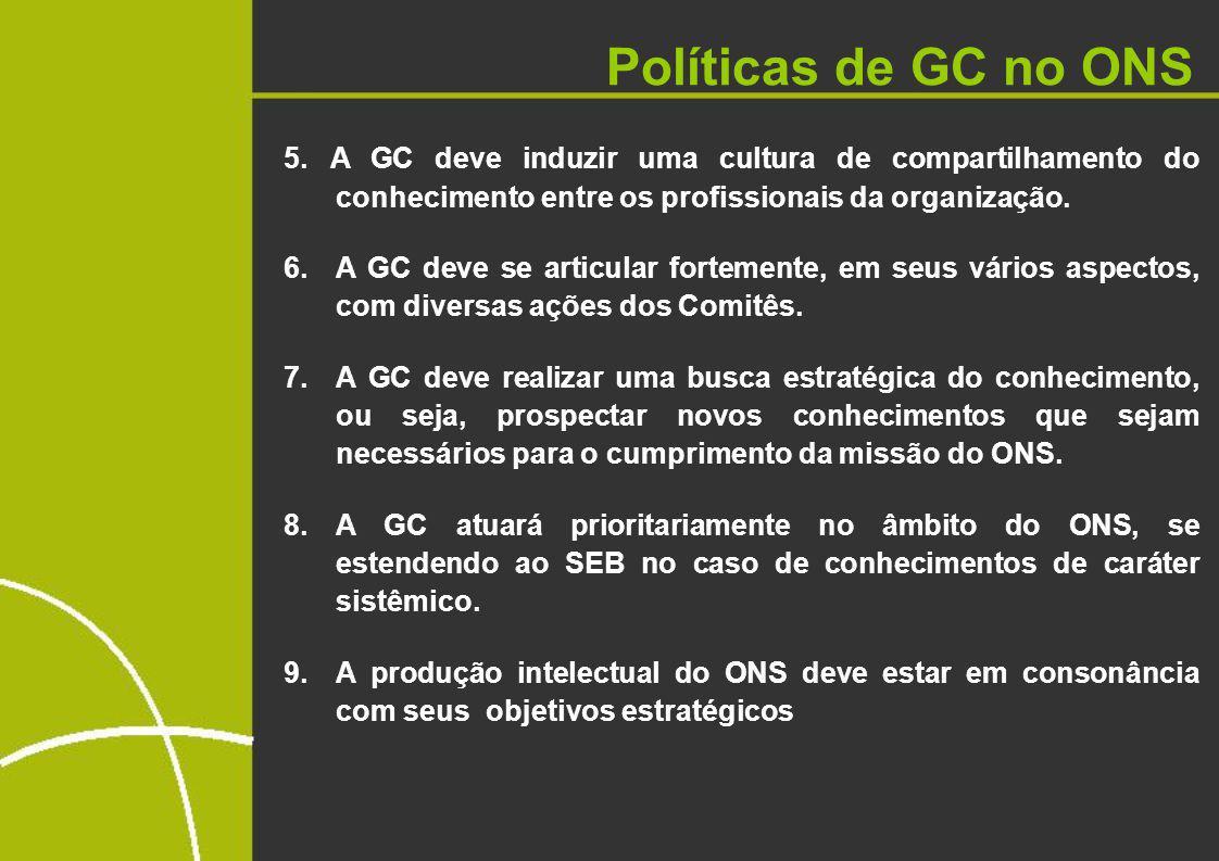 Políticas de GC no ONS 5. A GC deve induzir uma cultura de compartilhamento do conhecimento entre os profissionais da organização.