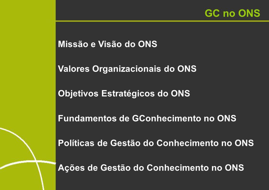 GC no ONS Missão e Visão do ONS Valores Organizacionais do ONS