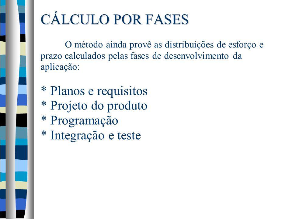 CÁLCULO POR FASES O método ainda provê as distribuições de esforço e prazo calculados pelas fases de desenvolvimento da aplicação: * Planos e requisitos * Projeto do produto * Programação * Integração e teste