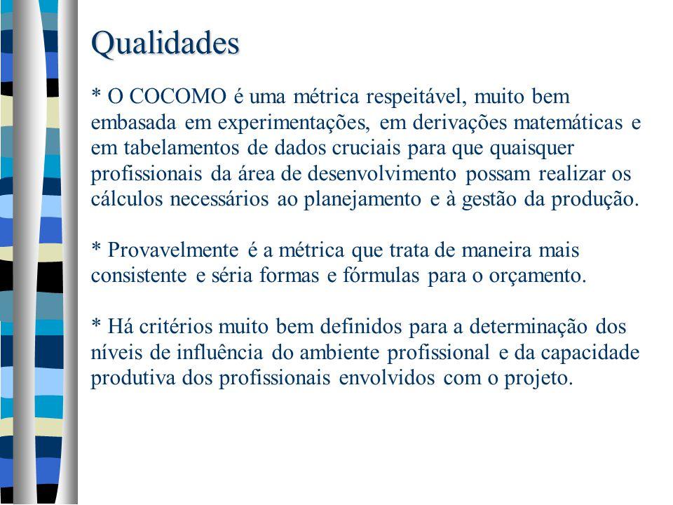 Qualidades * O COCOMO é uma métrica respeitável, muito bem embasada em experimentações, em derivações matemáticas e em tabelamentos de dados cruciais para que quaisquer profissionais da área de desenvolvimento possam realizar os cálculos necessários ao planejamento e à gestão da produção.