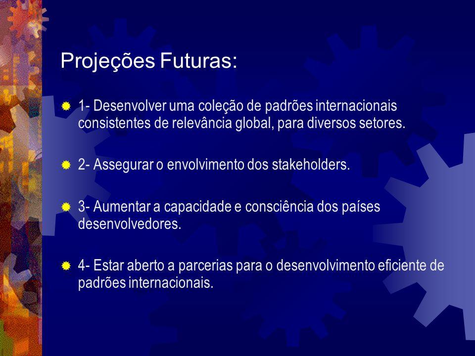 Projeções Futuras: 1- Desenvolver uma coleção de padrões internacionais consistentes de relevância global, para diversos setores.