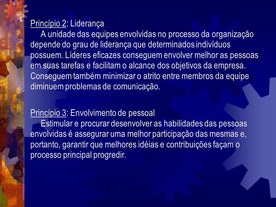Princípio 2: Liderança A unidade das equipes envolvidas no processo da organização. depende do grau de liderança que determinados indivíduos.