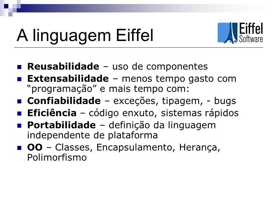 A linguagem Eiffel Reusabilidade – uso de componentes