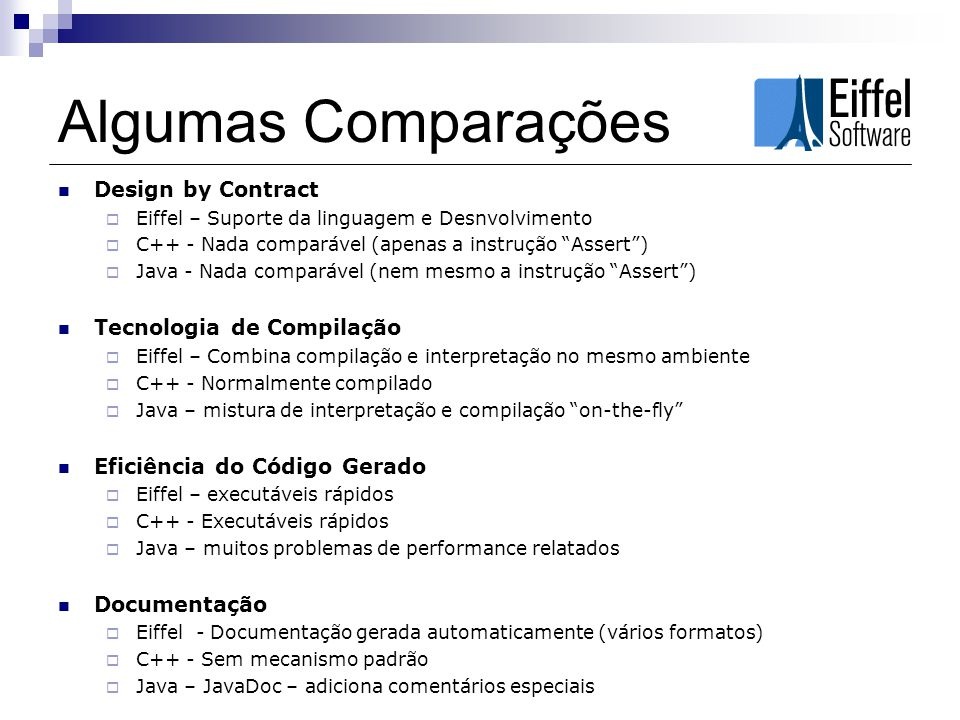 Algumas Comparações Design by Contract Tecnologia de Compilação