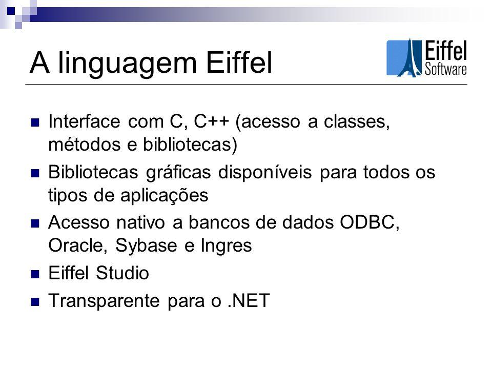 A linguagem Eiffel Interface com C, C++ (acesso a classes, métodos e bibliotecas) Bibliotecas gráficas disponíveis para todos os tipos de aplicações.