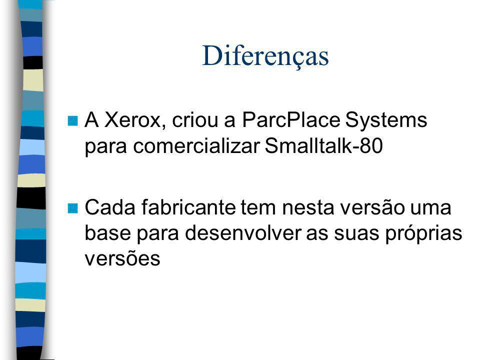 Diferenças A Xerox, criou a ParcPlace Systems para comercializar Smalltalk-80.