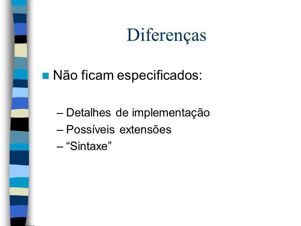 Diferenças Não ficam especificados: Detalhes de implementação